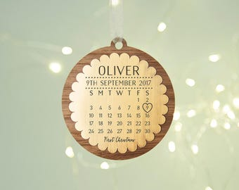 Baby's First Christmas Calendar Wooden Bauble