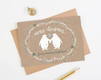 Boyfriend Christmas Card Penguin Kraft