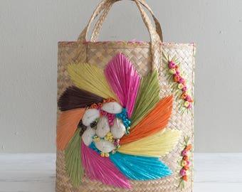 Vintage Colorful Straw Handbag