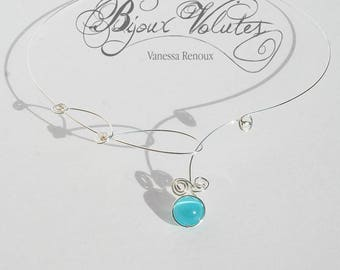 Turquoise wedding, thin silver wire necklace, designer Necklace blue wedding
