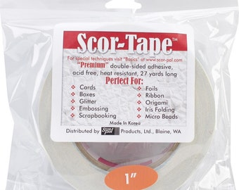 SCOR-TAPE 1 Inch WiDE  TAPE DOUBLESiDED - for Scrapbooking and Cards- Premium crafting tape