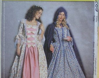 McCall's 3289 Colonial dress and cape sewing pattern 6 8 10 12 UNCUT