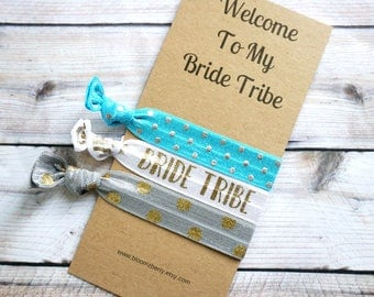 Bridesmaid Gift 3 pcs gift set - Welcome to my Bride Tribe - Blue/White/Gray/Gold - Bridesmaid Proposal Gift- Wedding/Bridesmaid/Gift/Party