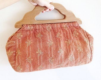 Vintage 1950s Sewing Bag Purse with Wood Handles