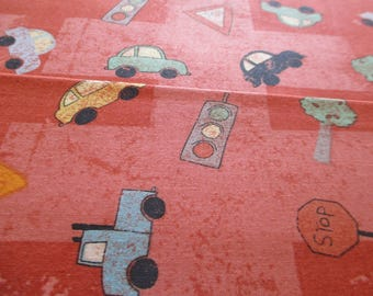 Quilting Weight Cotton Fabric Road Trip by Dan DiPaola for Clothworks in orange 1 yard