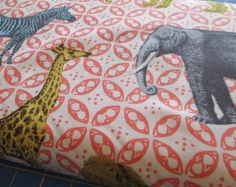 Quilting Weight Cotton Fabric Animal Bazaar by Michael Miller in Coral 1 yard