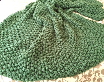 Extra Large Chunky Hand Knit Blanket  ~ Sage ~ Super Soft & Snuggly