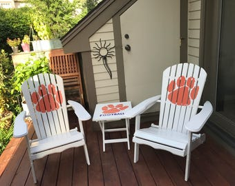 Adirondack Chair - Custom Colors - Clemson - Paw Print - Hand Painted