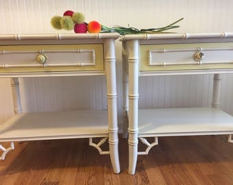 FAUX BAMBOO NIGHTSTANDS PAiR, Fretwork, Thomasville, Chinoiserie, Chinese Chippendale, Regency, Palm Beach Chic at Ageless Alchemy