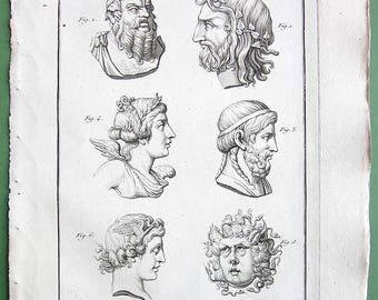 GODS & DEITIES Roman Greek Pan Silenus AEsculapius or Asclepius Victory Medusa Gorgona - 1804 Antique Copperplate Engraving Print