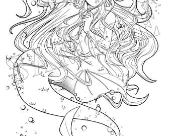 Mermaid Hooked Coloring Page Download