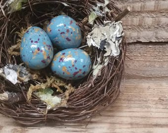 "Custom Keepsake / Memorial Nest made from your Flower Petals or Pet fur or Cremains - Choose Color - 3"" LICHEN NEST w/EGGS"