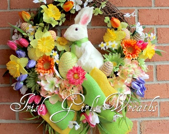 White Bunny Rabbit Easter Floral Wreath, Spring Wreath, Tulip, Daffodil, Dogwood, Gerber Daisy, Sisal rabbit and Eggs
