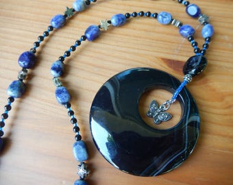 Large Black Stone Pendant with Silver Butterfly Charm - Handmade Beaded Necklace - Blue, Black, Stars, Butterfly, Hippie, Boho, Nature