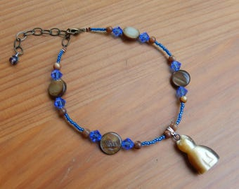 Anklet - Handmade Beaded Anklet with Carved Tigers Eye Cat Charm - Blue and Brown - Hippie, Boho, Gypsy, Cats, Caturday, Summer Jewelry