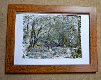 By the Brook - Thread Painting