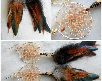 Sunstone Gold Bohemian Tribal Hippie Dream Catcher Earrings with Hand Arranged Feathers by The Emerald Lotus