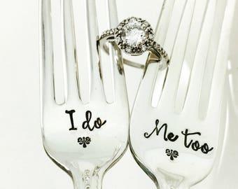 I Do Me Too Wedding Forks, Engagement Gift, Bridal Shower Gift, Wedding Day Forks, Wedding Silverware