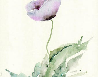 Flower art, Original watercolour painting, poppy painting, flower artwork papavers, poppy flower, purple, poppy watercolor, wild flowers