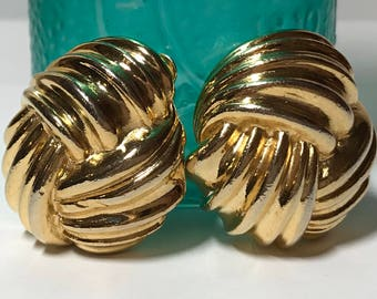 Vintage gold tone clip on wrap earrings