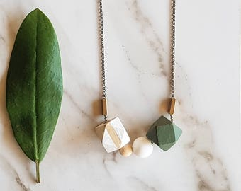 Evie Necklace   Geometric beads   Olive White