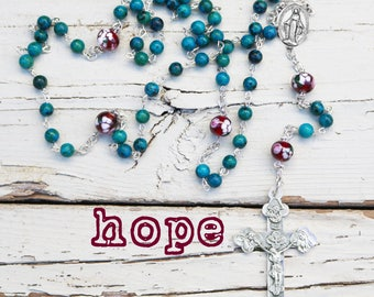 Contemporary Handmade Rosary--Stone Beads--Inspirational--Catholic--Baptism Gift--Boho--Prayer--Turquoise Blue--Vintage--Art Glass Beads