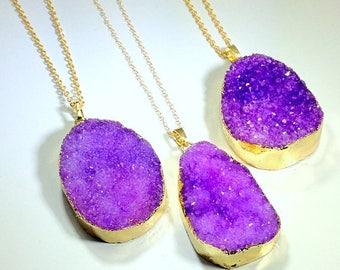 10% off SALE Purple Druzy Necklace 14K Gold Filled Necklace Purple Druzy Pendant 14K Gold FIlled Jewelry Stone Necklace Druzy Jewelry