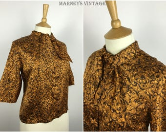 Vintage 1950s Silk Blouse - 50s Floral Tie Neck Top - Medium / Large - UK 14-18 / US 10-14 / EU 42-46