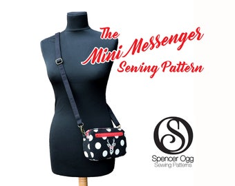 Bag sewing pattern - Mini Messenger bag sewing pattern, with wristlet option. Purse Patterns and tutorials