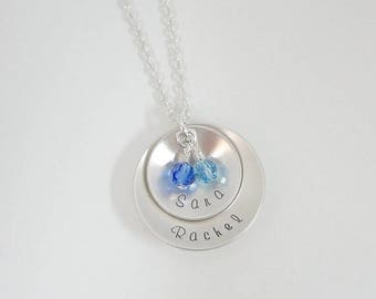 SALE - Hand Stamped Mommy Necklace - Sterling Silver Layered Disc Necklace with Swarovski Birthstones - Domed Disc - Personalized Custom Jew