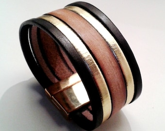 Black Gold Leather cuff and Brown vintage with zamak magnetic clasp gold