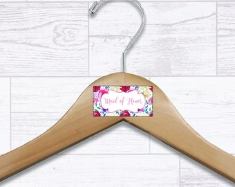 Floral Maid of Honor Wooden Hanger - Wedding Hangers - Bridal Hanger - Maid of Honor Gift - Wedding Gift - Wedding Supplies - HNGR0037