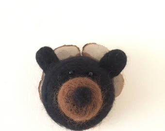 Needlefelted Brown Bear on Cedar Mount / Needle Felt / Hudson Valley / Faux Taxidermy / Fun gifts / House Warming / Hostess Gift / Tiny Gift