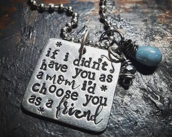 Mother daughter quote necklace