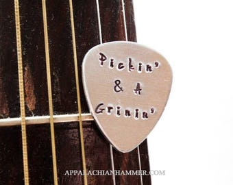 Pickin and a Grinin Aluminum Hand Stamped Guitar Pick