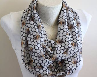 Honeycomb Scarf Bee Infinity Scarf Save The Bees Honey Bee Gift for Girlfriend Bee Scarf Queen Bee Gift Ideas for Wife