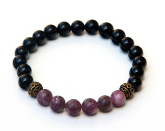 valentines bracelet, valentines gift, valentines jewelry, love bracelet, Pink lepidolite bracelet, black tourmaline bracelet