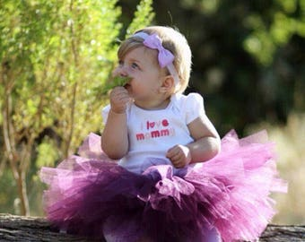 2 Piece Set plum tutu skirt with a matching headband