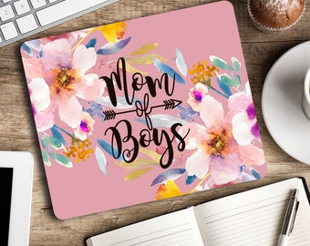 Mom of boys - Cute Mouse pad Purple floral watercolor mouse mat Cubicle decor Office space Desk accessory Rectangular mousepad Gift for her