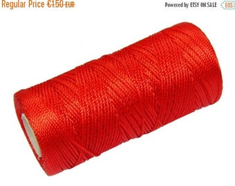 ON SALE 15 Meters Nylon Cord Not Waxed - Macrame Rope 0.8mm - Crochet Thread - Tangerine