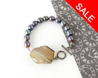 Raw Stone Statement Bracelet with Dark Freshwater Pearls, Bold Agate Jewelry - ON SALE (WAS 40)