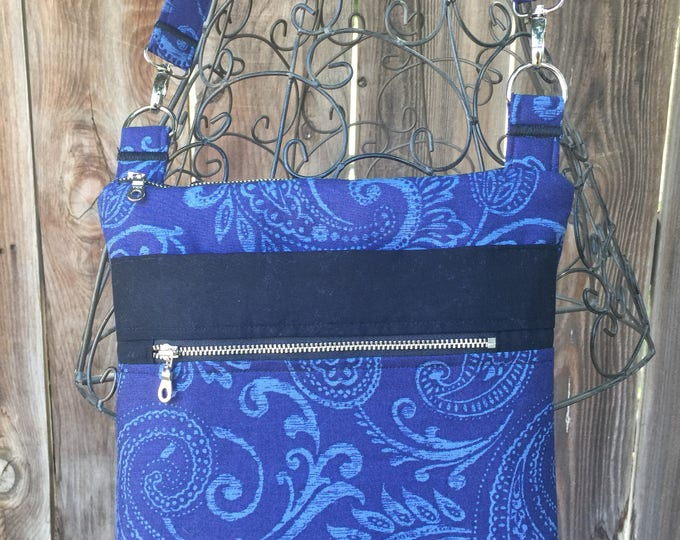 Cross Body Bag, Across The Body Bag, Blue and Black Cross Body Purse, Adjustable strap, long handle purse, Travel Purse, Zippered Purse