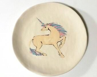 Unicorn Decor, Unicorn Party Accessory, Small Ceramic Dessert Plate - Spirit Animal,  Magical Creature, Birthday Cake Plate