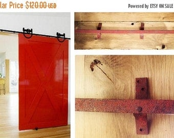 ON SALE Antique, Barn Door Track, Sliding Track, 8- Foot of track in two pieces, Hardware, Supplies, Rustic, Steel, Vintage, Industrial