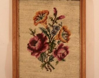 Vintage Framed Floral Needlepoint
