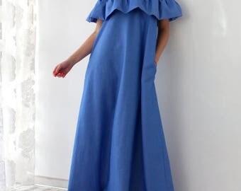 SALE ON 20 % OFF Maxi Ruffle Dress, Maxi Dress, Ruffle dress, Blue dress, Party dress, Long dress, Dress with pockets