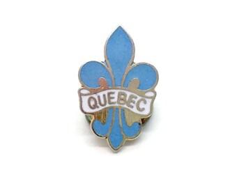 True Vintage Enamel Pin QUEBEC Canada Fleur De Lis
