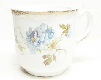Maďdocks Lamberton Works Antique Shaving Ivory Porcelain Cup Blue Transferware Flowers and Gold Antique Vanity Cup Victorian Era