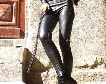 SALE NEW COLLECTION Black All Leather Leggings / Eco Leather Pants  / Spring New  by Aakasha_A05162
