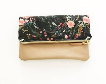 Wildflower Leather Fold Over Clutch